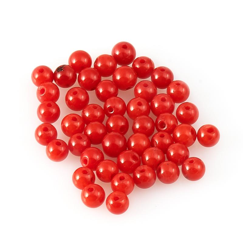 Бусина коралл красный  шарик 3-3,5 мм (1 шт) бусина коралл оранжевый сплюснутый шар 6 мм 1 шт