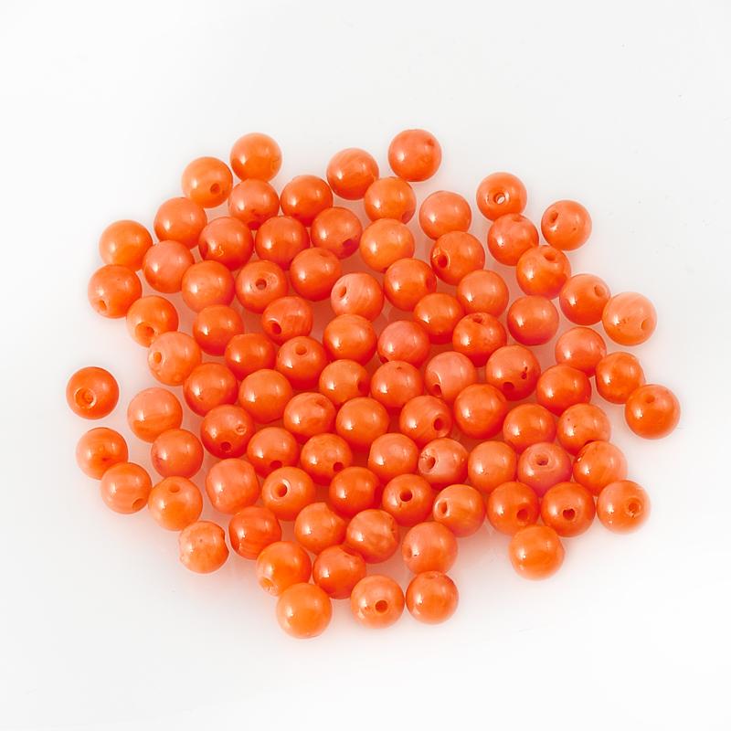 Бусина коралл розовый  шарик 3-3,5 мм (1 шт) бусина коралл розовый шарик 6 мм 1 шт