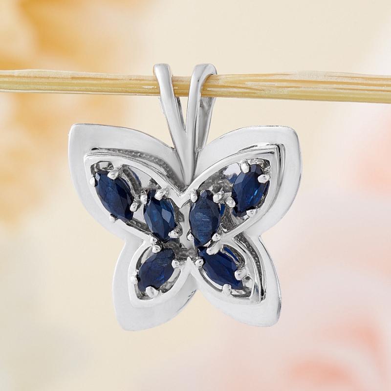 Кулон сапфир  бабочка огранка (серебро 925 пр.)