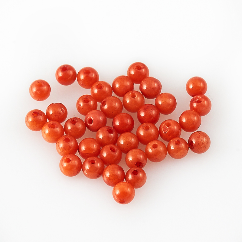 Бусина коралл оранжевый  шарик 3-3,5 мм (1 шт) бусина коралл оранжевый сплюснутый шар 6 мм 1 шт