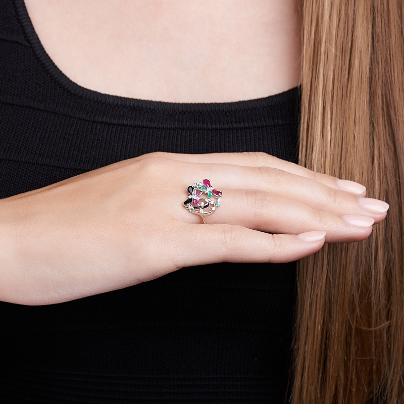 Кольцо микс изумруд, рубин, сапфир огранка (серебро 925 пр. родир. бел.) размер 17,5