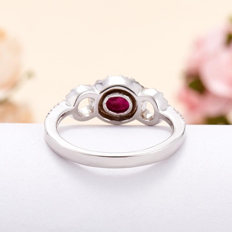 Кольцо микс рубин, сапфир огранка (серебро 925 пр. родир. бел.) размер 21