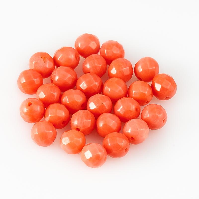 Бусина коралл розовый  шарик 5,5-6 мм огранка (1 шт) бусина авантюрин зеленый сплюснутый шар 6 6 5 мм 1 шт