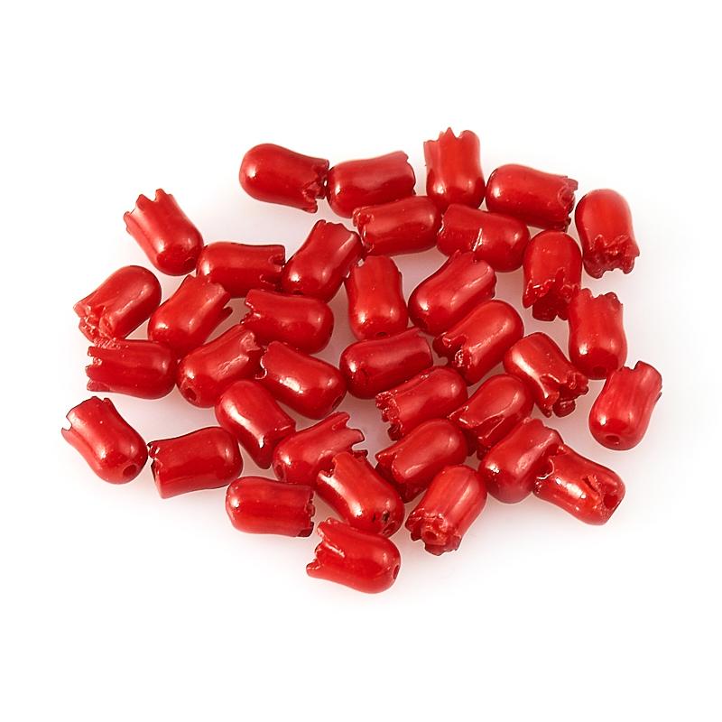 Бусина коралл красный  цветочек 3,5*5,5 мм (1 шт)