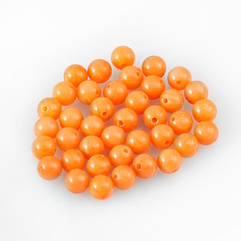 Бусина коралл оранжевый  шарик 4-4,5 мм (1 шт) бусина коралл оранжевый сплюснутый шар 6 мм 1 шт