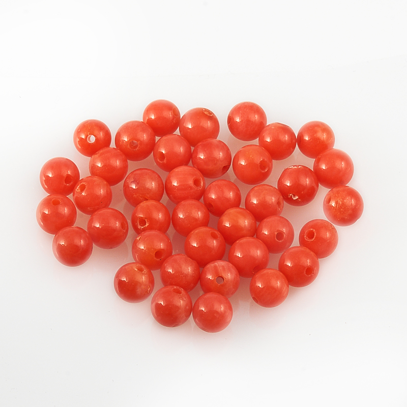 Бусина коралл розовый темный  шарик 4-4,5 мм (1 шт) бусина коралл оранжевый сплюснутый шар 6 мм 1 шт