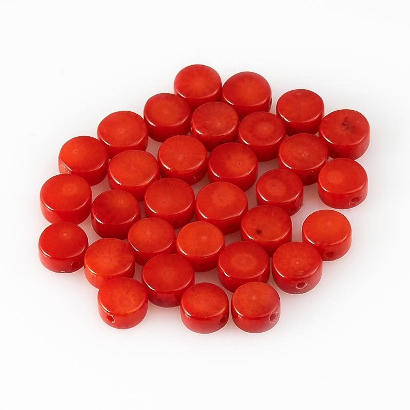 Бусина коралл красный  круг 6-6,5 мм (1 шт) бусина унакит сплюснутый шар 6 5 мм 1 шт