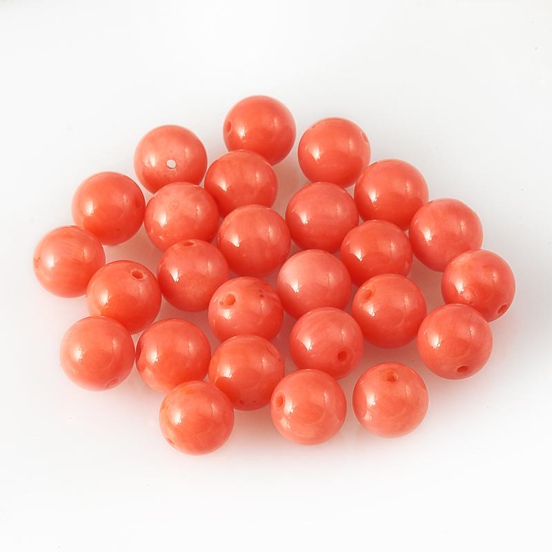 Бусина коралл розовый  шарик 6 мм (1 шт) бусина коралл оранжевый бочонок 3 6 5 1 шт