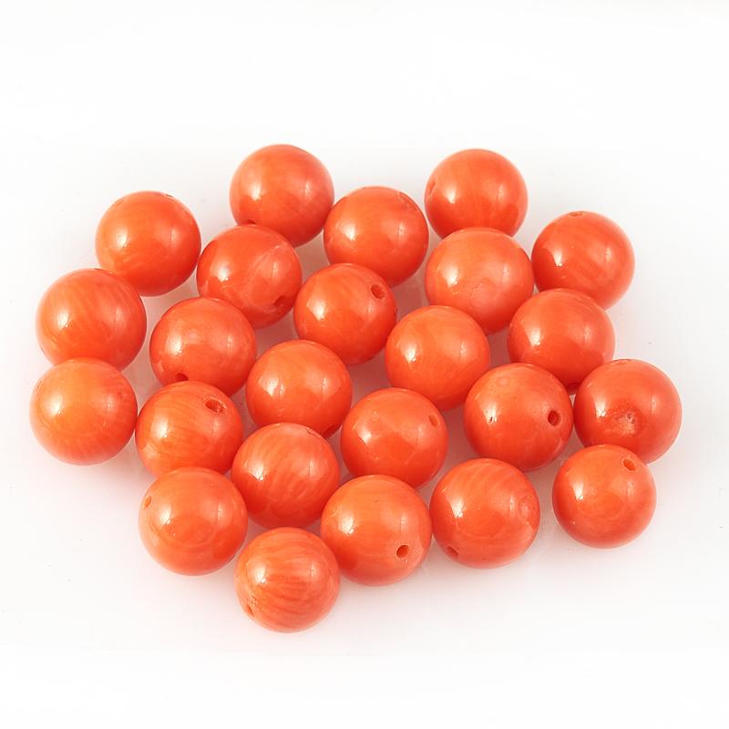 Бусина коралл оранжевый  шарик 8 мм (1 шт)