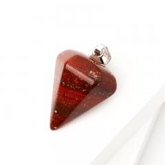 Кулон яшма красная ЮАР маятник (биж. сплав) 4-4,5 см