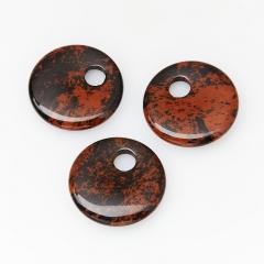 Кулон обсидиан коричневый Армения круг 3 см