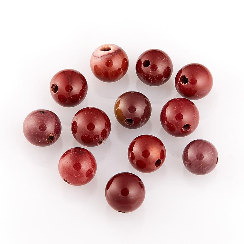 Бусина яшма мукаит бордовый  шарик 8-8,5 мм (1 шт)