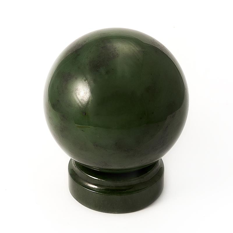 Шар нефрит зеленый на подставке 8 см шар офиокальцит на подставке 8 см