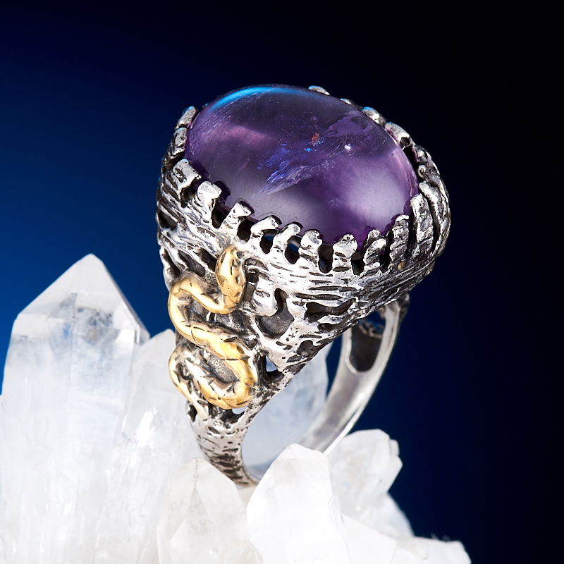 Кольцо аметист  (серебро 925 пр., позолота) размер 17,5 кольцо авантюрин зеленый серебро 925 пр размер 18