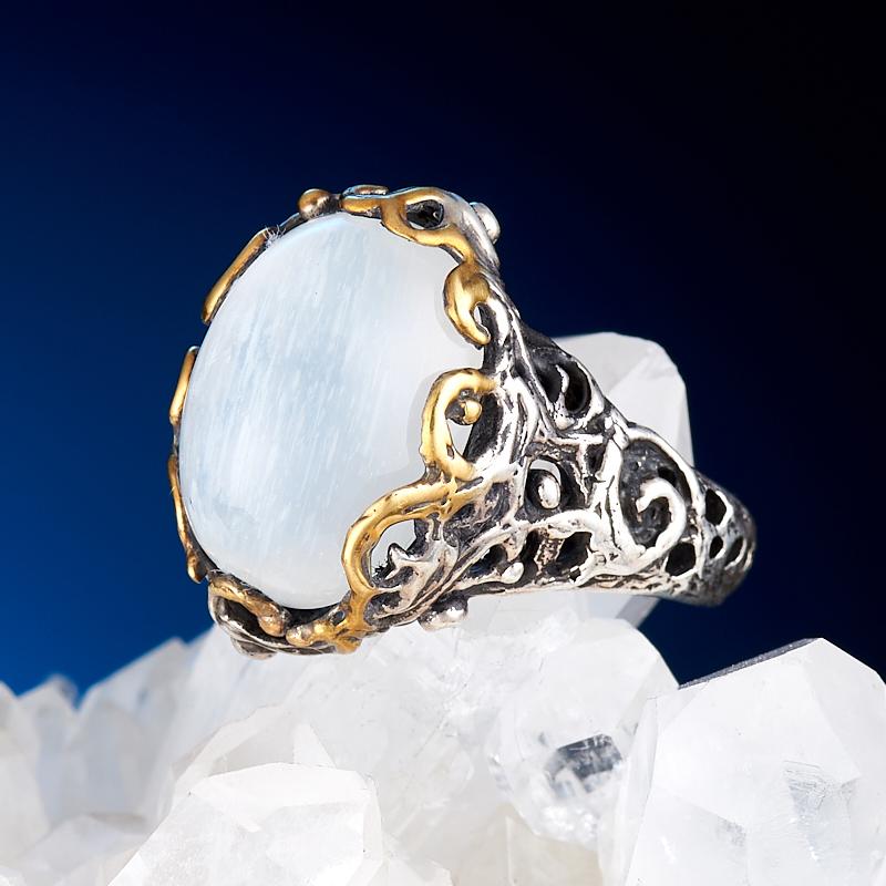 Кольцо лунный камень  (серебро 925 пр., позолота) размер 16,5