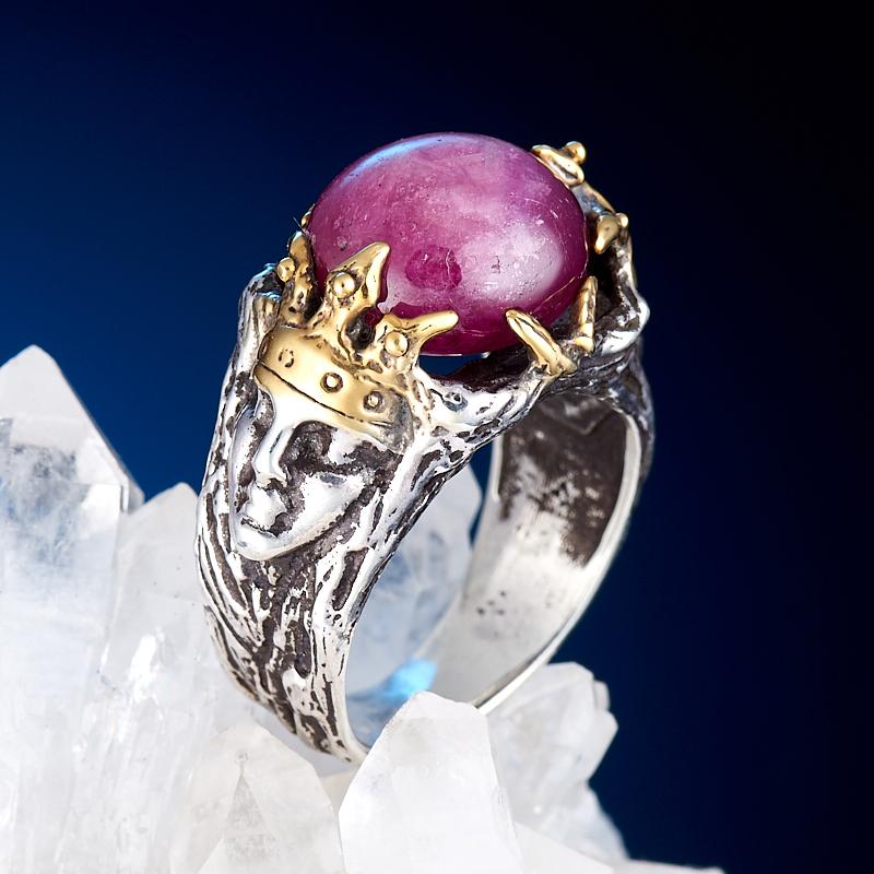 Кольцо корунд рубиновый  (серебро 925 пр., позолота) размер 17,5