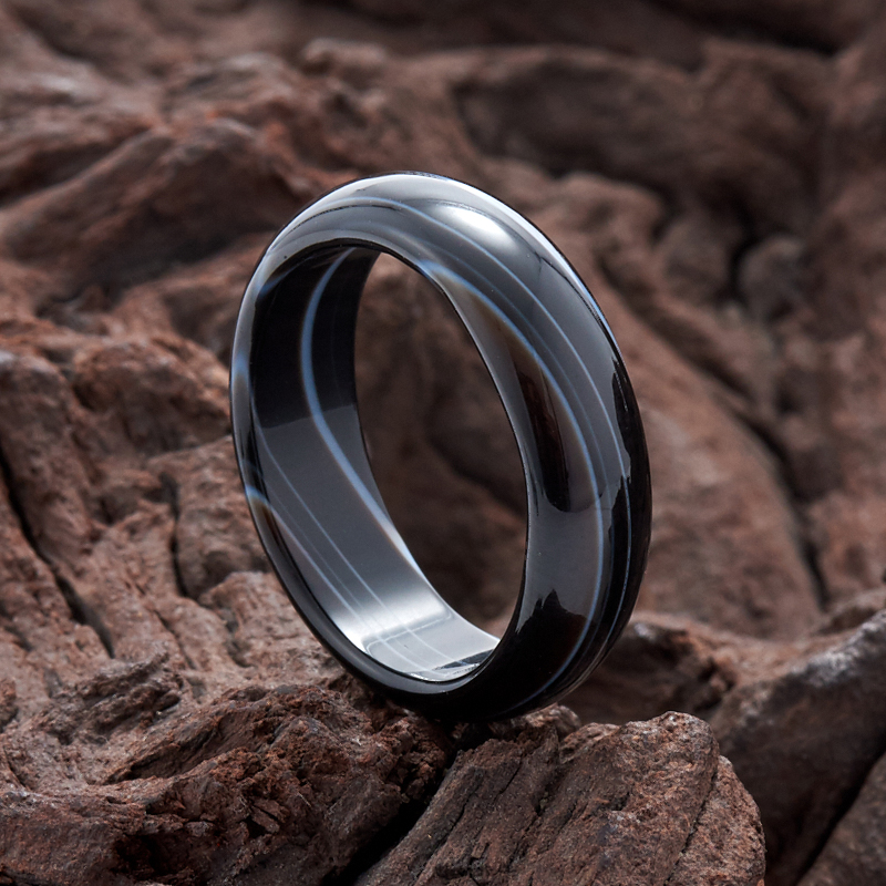 Кольцо агат черный (цельное) размер 18 кольцо art silver цвет антрацитовый кч2077 733 размер 18