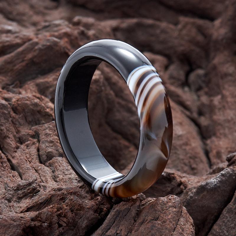 Кольцо агат черный (цельное) размер 19