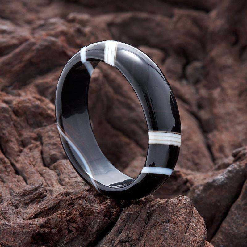 Кольцо агат черный (цельное) размер 19,5