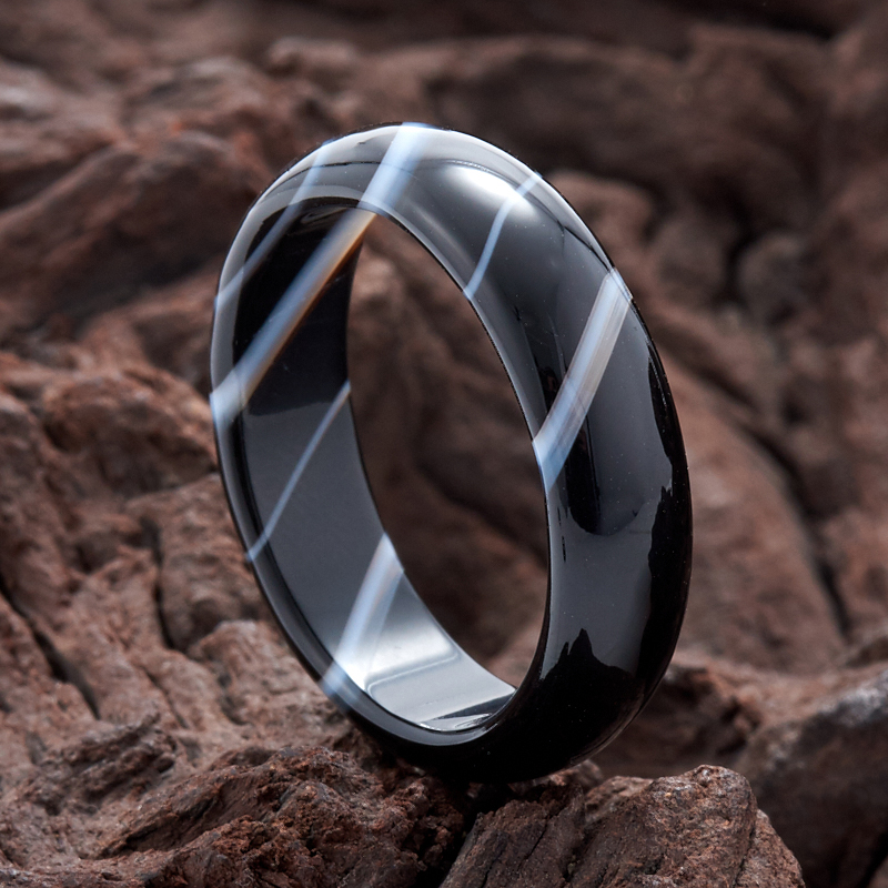 Кольцо агат черный (цельное) размер 20