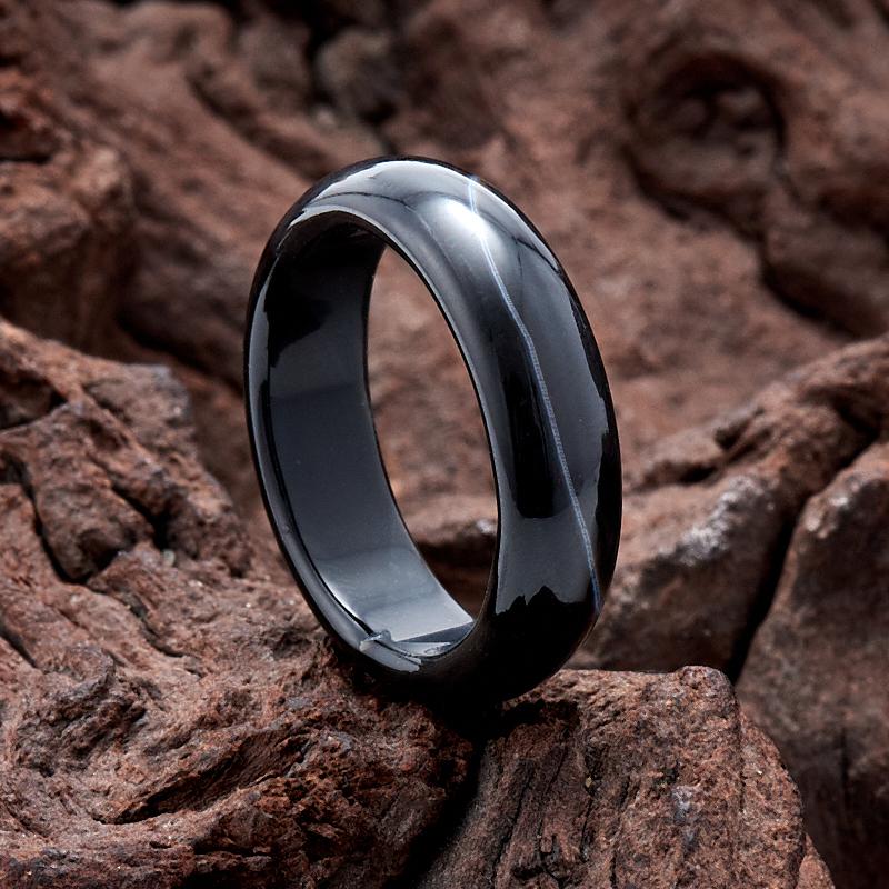 Кольцо агат черный (цельное) размер 17,5