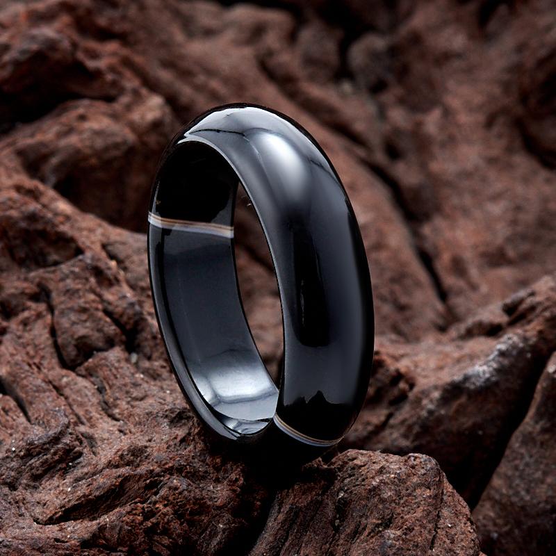 Кольцо агат черный  (цельное) размер 18 кабошон агат 18 25 мм
