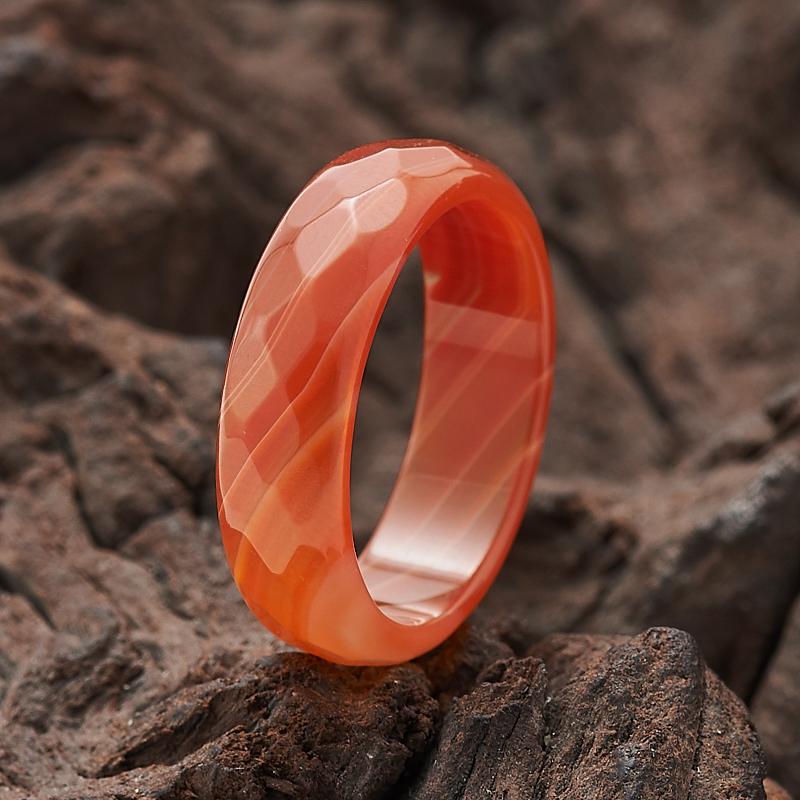 Кольцо сердолик  огранка (цельное) размер 17,5
