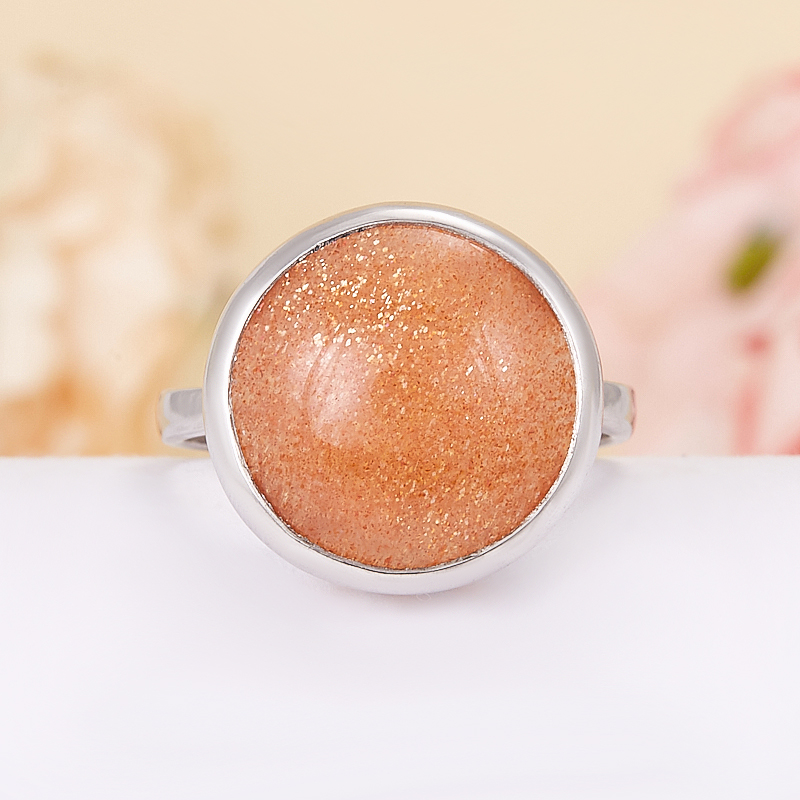 Кольцо солнечный камень (серебро 925 пр.) размер 18