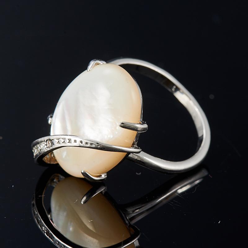 Кольцо перламутр белый  (серебро 925 пр.) размер 18,5