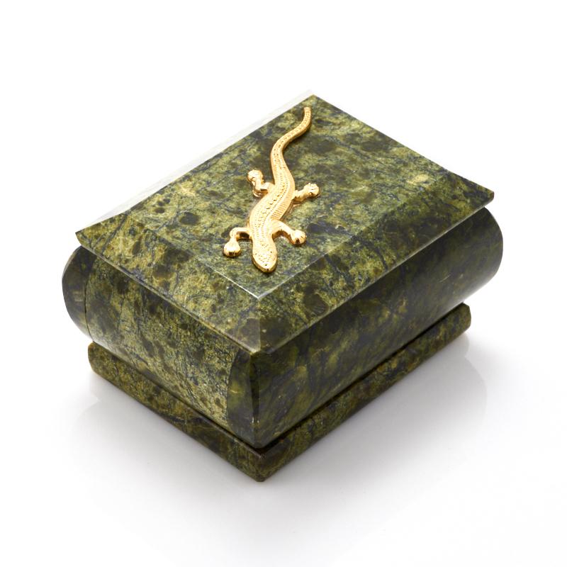 Шкатулка змеевик  7,5х5,5х4 см