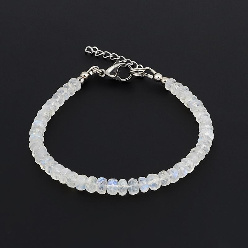 Браслет лунный камень огранка 17-20 cм (хир. сталь) браслет лунный камень шамбала 6 мм 16 cм