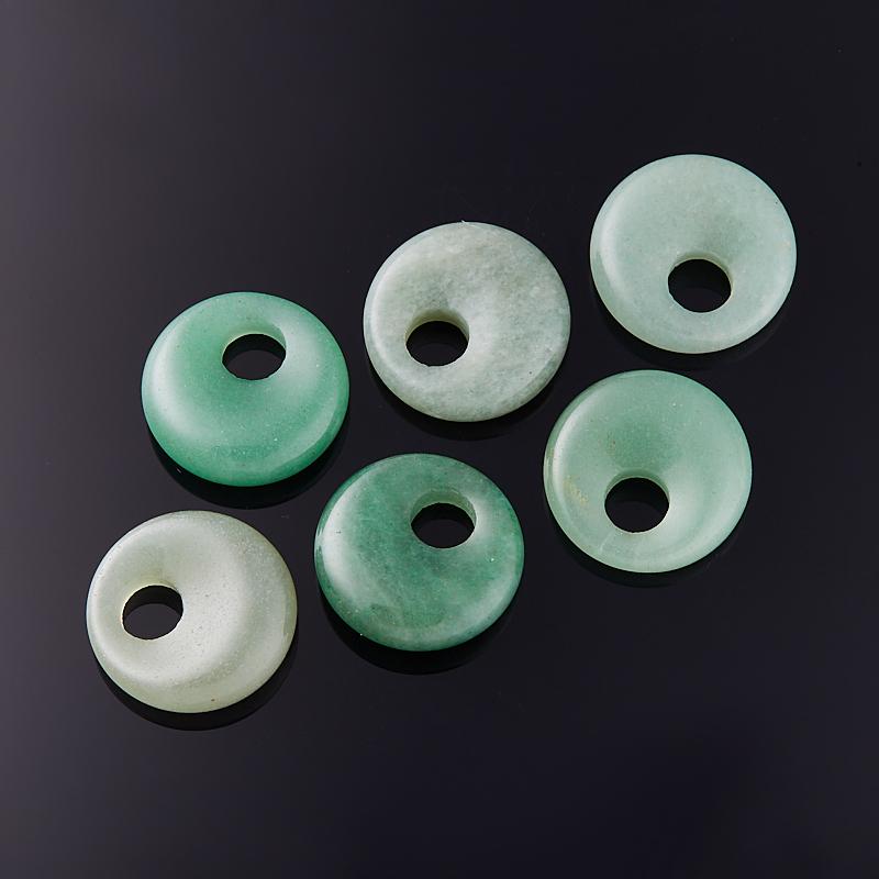 Кулон авантюрин зеленый  круг 2 см