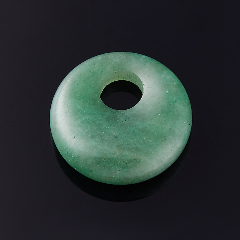 Кулон авантюрин зеленый Зимбабве круг 1,5-2 см
