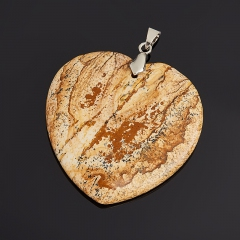 Кулон яшма рисунчатая Намибия (биж. сплав) сердечко 5,5-6 см