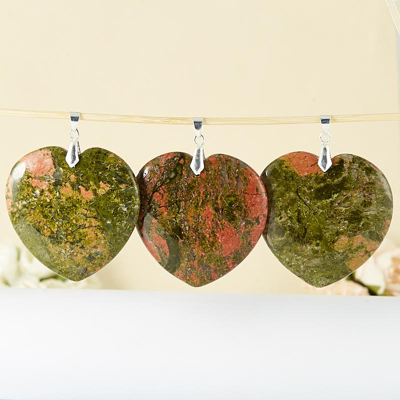 Кулон унакит  сердечко 6 см