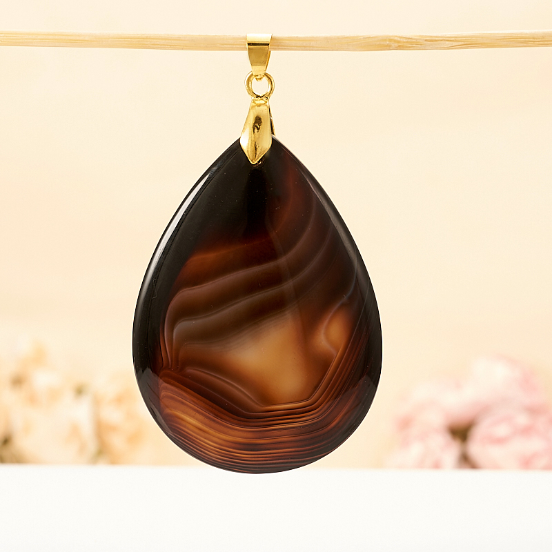 Кулон агат коричневый  капля 6,5 см