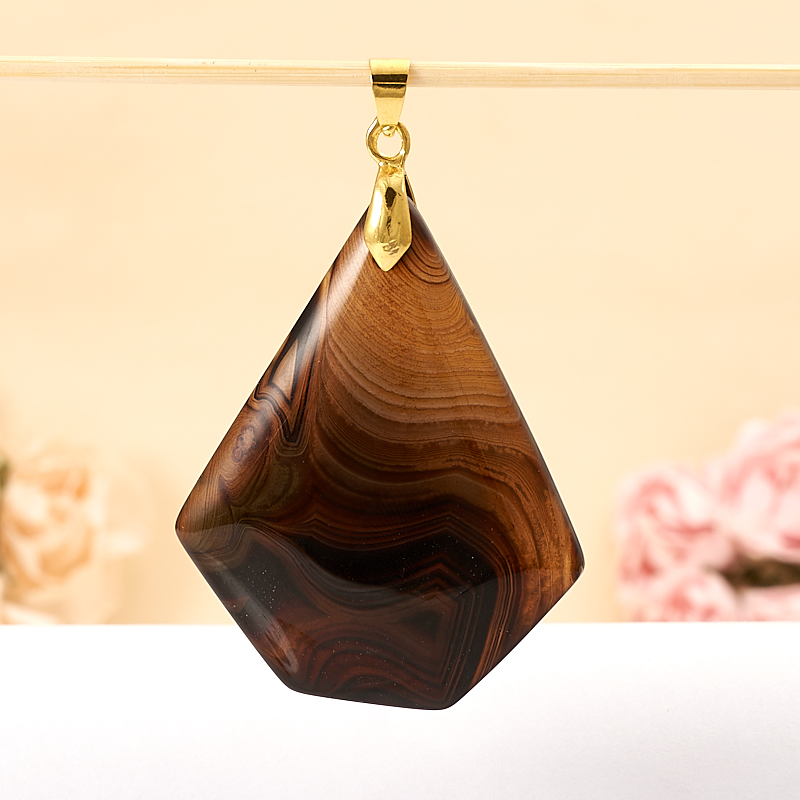 Кулон агат коричневый  6 см