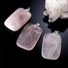 Кулон розовый кварц Намибия прямоугольник (биж. сплав) 6,5 см