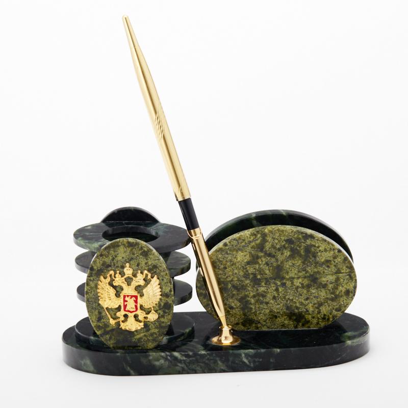 Письменный набор змеевик 19х7,5х8,5 см браслет джессика змеевик кахолонг