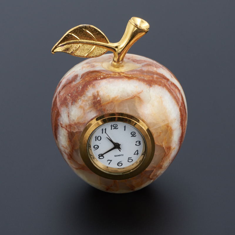 Часы яблоко оникс мраморный 5х6 см
