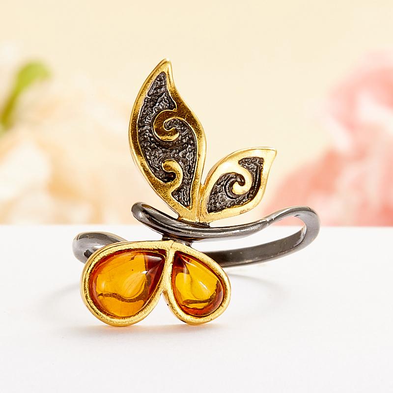 Кольцо янтарь  (серебро 925 пр., позолота) размер 18 кольцо янтарь серебро 925 пр позолота размер 17