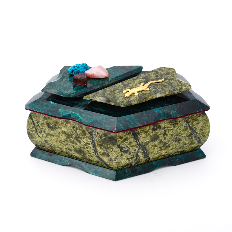 Шкатулка змеевик  19х10,5х9,5 см