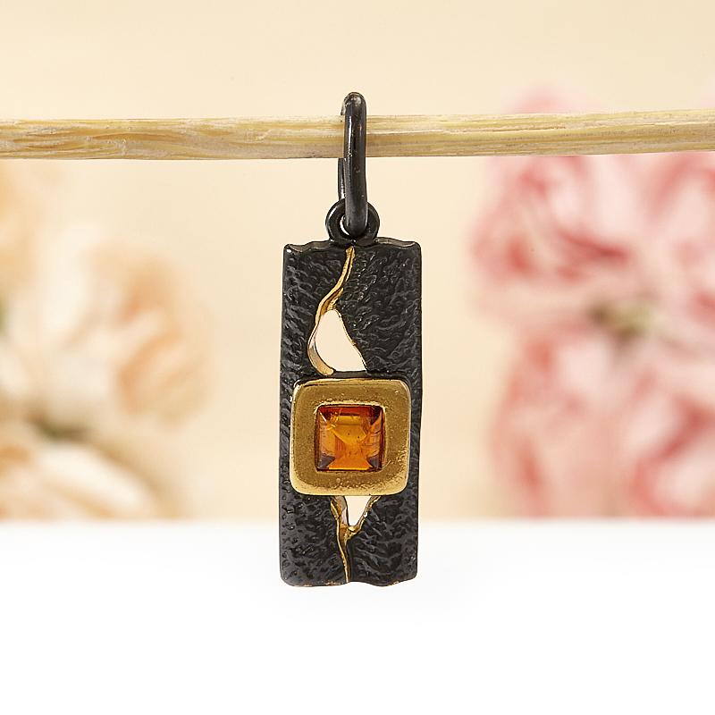Кулон янтарь  прямоугольник (серебро 925 пр., позолота)