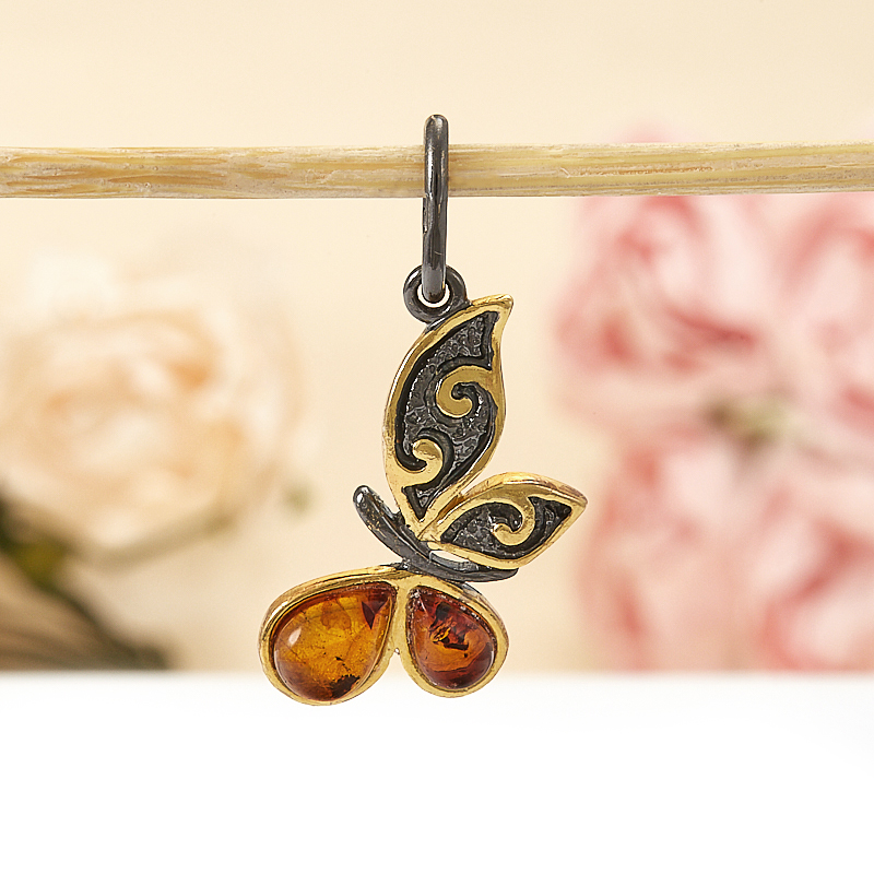 Кулон янтарь  бабочка (серебро 925 пр., позолота)
