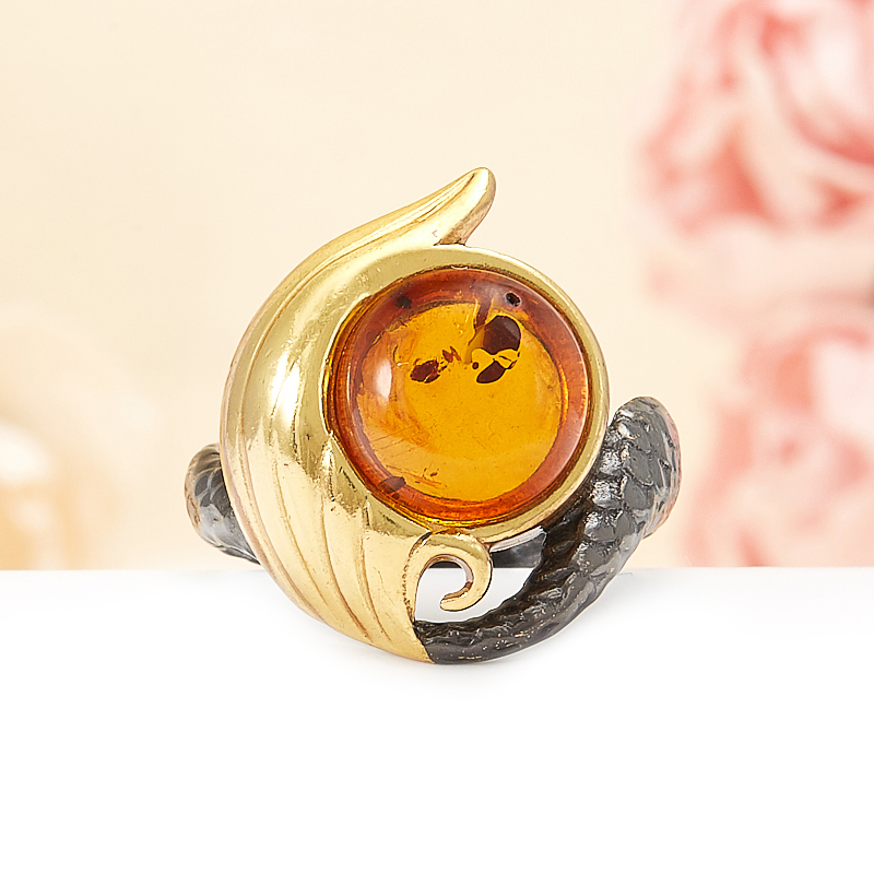 Кольцо янтарь  (серебро 925 пр., позолота) размер 17 кольцо хризопраз серебро 925 пр размер 17