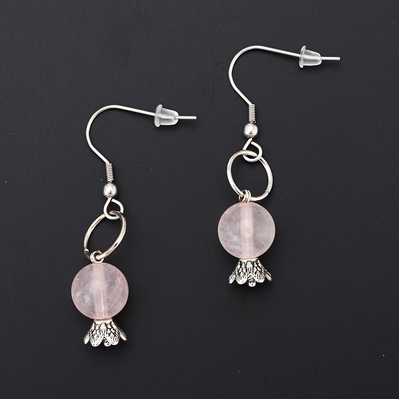 Серьги розовый кварц  (хир. сталь)