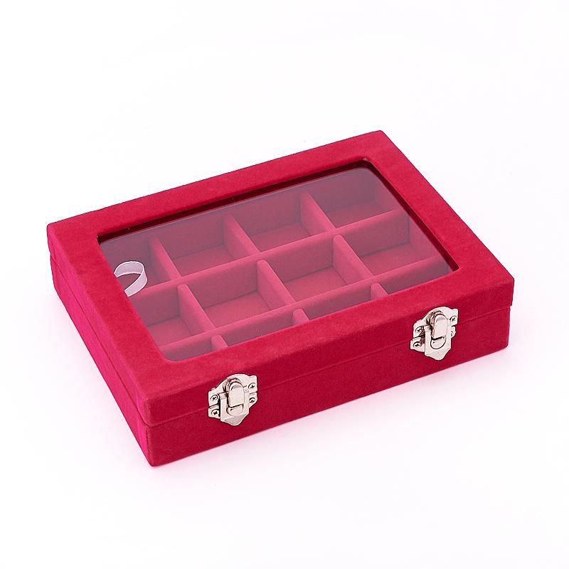 Коробка для коллекции камней  (12 ячеек) (фуксия)