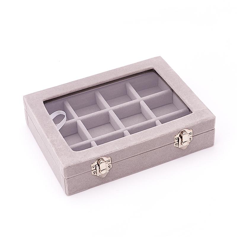 Коробка для коллекции камней (12 ячеек) (серый)