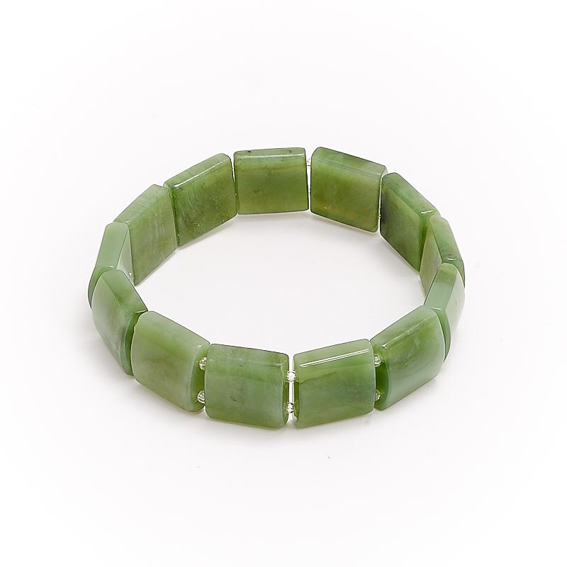 Браслет нефрит зеленый  19 cм браслет авантюрин зеленый огранка 10 мм 17 cм