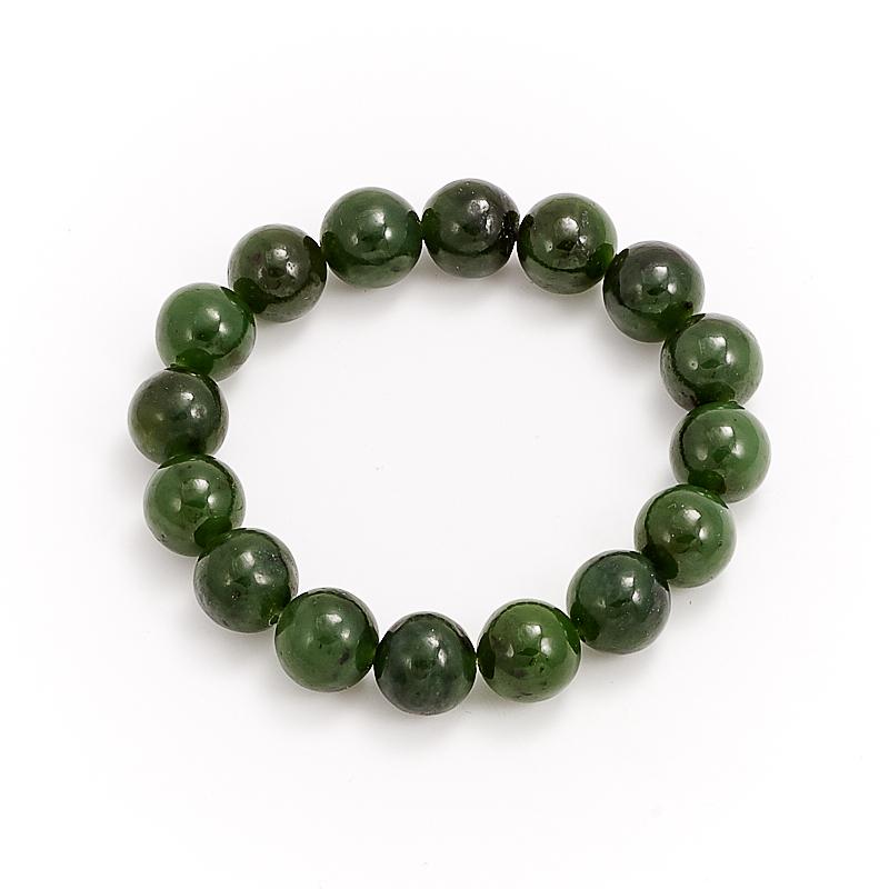 Браслет нефрит зеленый  12 мм 16 cм кабошон нефрит зеленый 12 16 мм